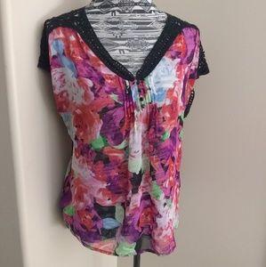 Semi sheer floral blouse w/ black crochet trim
